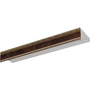 Карниз потолочный пластиковый DDA Прямой Гранд двухрядный карельская берёза 3.6 карниз потолочный пластиковый dda поворот гранд двухрядный карельская берёза 3 2