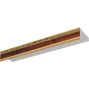 Карниз потолочный пластиковый DDA Прямой Гранд двухрядный орех 3.6 карниз потолочный пластиковый dda прямой гранд двухрядный карельская берёза 3 2