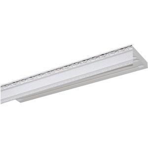 Карниз потолочный пластиковый DDA Прямой Гранд двухрядный серебро 3.0 карниз потолочный пластиковый dda прямой гранд двухрядный карельская берёза 3 2