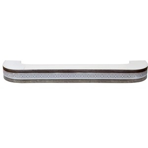 цена Карниз потолочный пластиковый DDA Поворот Акант трехрядный серебро 2.4