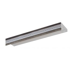 Карниз потолочный пластиковый DDA Прямой Акант двухрядный серебро 2.4