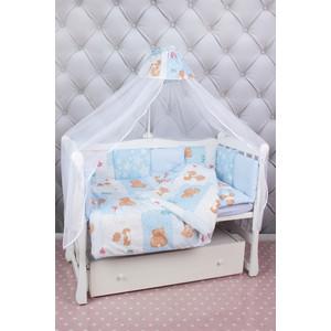 Комплект в кроватку AmaroBaby 18 предметов (6+12 подушек-бортиков) Мишка (голубой)