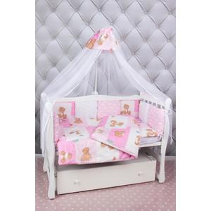 Фотография товара комплект в кроватку AmaroBaby 18 предметов (6+12 подушек-бортиков) Мишка (розовый) (822327)