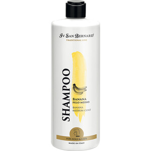 Шампунь Iv San Bernard Traditional Line Plus Shampoo Banana Medium Coat SLS Free для шерсти средней длины у животных 500 мл