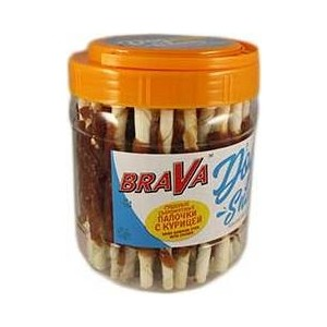Лакомство BraVa Dog Snacks сушеные сыромятные палочки с курицей для собак 600 г (110703)