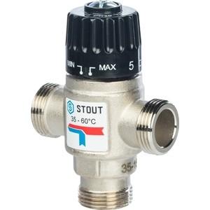 Смесительный клапан STOUT термостатический для систем отопления и ГВС 3/4 НР 35-60°С KV 1.6 (SVM-0020-166020) смесительный клапан stout термостатический для систем отопления и гвс 1 нр 30 65°с kv 1 8 svm 0025 186525