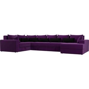 Угловой Диван АртМебель Мэдисон-П микровельвет фиолетовый фиолетовый/черный цена и фото