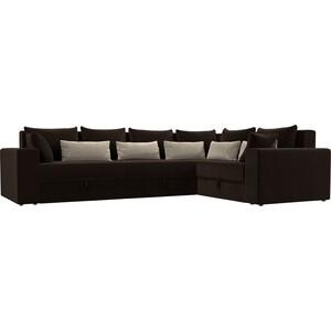 Угловой диван АртМебель Мэдисон Long микровельвет коричневый коричневый/бежевый правый угол угловой диван артмебель андора микровельвет коричневый правый