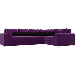 Угловой диван АртМебель Мэдисон Long микровельвет фиолетовый фиолетово/черный правый угол диван кровать смк дюссельдорф 147 б 2д у1пф правый угол 352 alba ash
