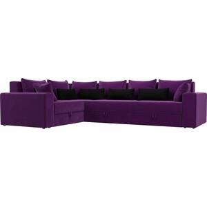 Угловой диван АртМебель Мэдисон Long микровельвет фиолетовый фиолетово/черный левый угол