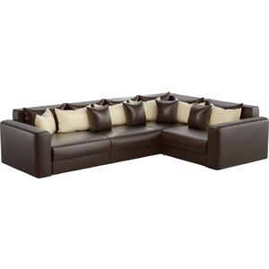 Угловой диван АртМебель Мэдисон Long эко-кожа коричневый коричнево/бежевый правый угол