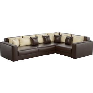 Угловой диван АртМебель Мэдисон Long эко-кожа коричневый бежевый/коричневый правый угол