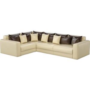Угловой диван АртМебель Мэдисон Long эко-кожа бежевый коричневый/бежевый левый угол ножки для поддона riho basel 410 420 pootset66