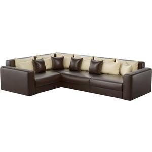 где купить Угловой диван АртМебель Мэдисон Long эко-кожа коричневый бежевый/коричневый левый угол дешево