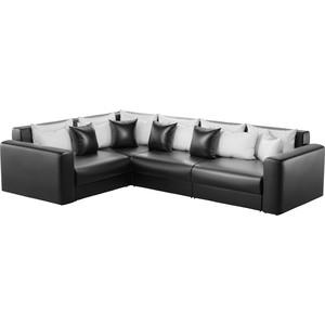 Угловой диван АртМебель Мэдисон Long эко-кожа черный белый/черный левый угол zhileyu черный sq8