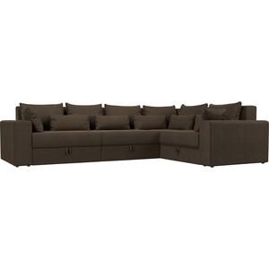 Угловой диван АртМебель Мэдисон Long рогожка коричневый правый угол диван угловой артмебель орион правый коричневый