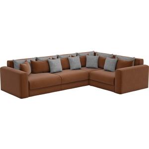 Угловой диван АртМебель Мэдисон Long рогожка коричневый коричневый/серый правый угол