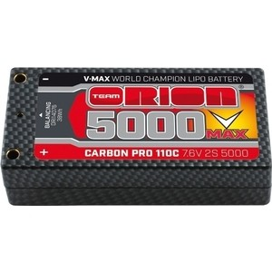 Аккумулятор Team Orion Batteries Carbon Pro V-Max LiPo 5000 110C 7.6 V 2S Shorty Pack Tubes - ORI14076