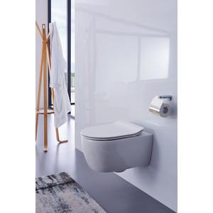 Унитаз подвесной SSWW безободковый 48,5 см, с микролифтом, белый (NC4455) унитаз подвесной vitra sento безободковый укороченный 49 5 см без сидения 7747b003 0075