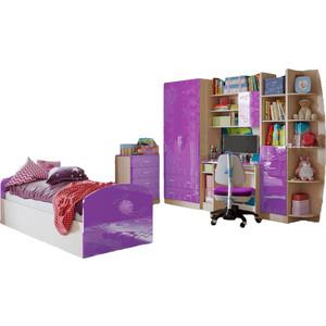 Модульная детская Миф Юниор-2 фиолетовый глянец детская модульная мебель лотос