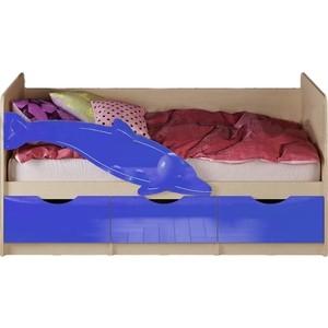 Кровать Миф Дельфин 1 дуб беленый/синий ПВХ 1.6 м