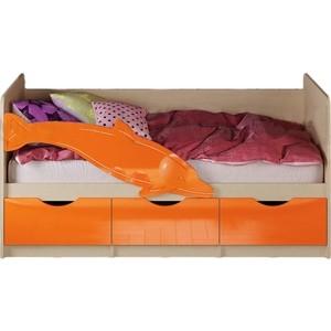 Кровать Миф Дельфин 1 дуб беленый/оранжевый ПВХ 1,6 м чаша горошек 2 л бел син 1150426
