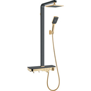 Душевая система Gllon с изливом и термостатом черный/золото (GL-SF2060GB-T-NS) недорго, оригинальная цена