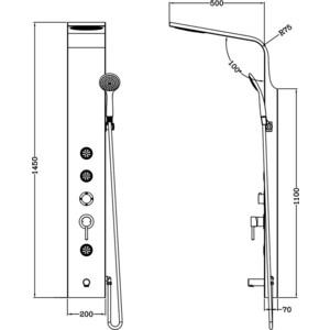 Душевая система Gllon с изливом белый глянец (GL-SL2001LW-1-S)