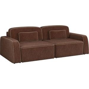 Диван-еврокнижка АртМебель Гермес микровельвет коричневый диван книжка артмебель анна микровельвет коричневый