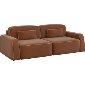 Диван-еврокнижка АртМебель Гермес рогожка коричневый диван еврокнижка фиджи рогожка