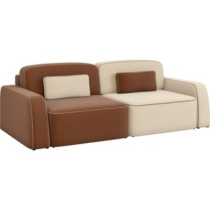 Диван-еврокнижка АртМебель Гермес рогожка коричневый/бежевый диван еврокнижка фиджи рогожка