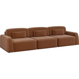 Диван-еврокнижка АртМебель Гермес Long рогожка коричневый диван еврокнижка фиджи рогожка