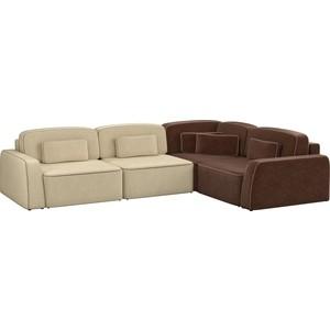 Угловой диван АртМебель Гермес микровельвет бежевый 2/коричневый 3 правый угол диван угловой артмебель орион правый коричневый