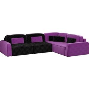 Угловой диван АртМебель Гермес микровельвет черный 3/фиолетовый 2 правый угол угловой диван артмебель андора микровельвет черный правый