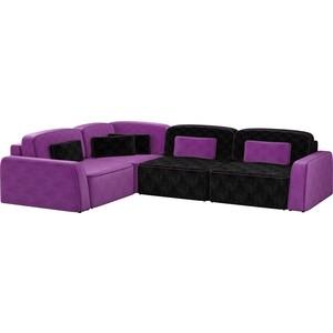 Угловой диван АртМебель Гермес микровельвет черный 3/фиолетовый 2 левый угол угловой диван артмебель андора микровельвет черный левый