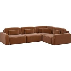 Угловой диван АртМебель Гермес рогожка коричневый правый угол диван угловой артмебель орион правый коричневый