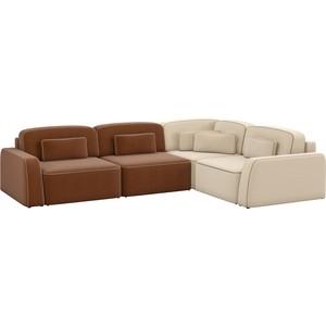 Угловой диван АртМебель Гермес рогожка коричневый 2/бежевый 3 правый угол диван угловой артмебель орион правый коричневый