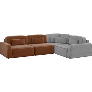 Угловой диван АртМебель Гермес рогожка коричневый 2/серый 3 правый угол шатура диван лондон рогожка бежевая 2 подушки в подарок