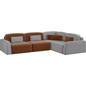 Угловой диван АртМебель Гермес рогожка коричневый 3/серый 2 правый угол диван угловой артмебель орион правый коричневый