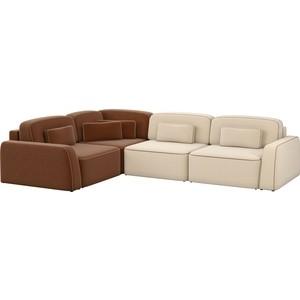 Угловой диван АртМебель Гермес рогожка бежевый 2/коричневый 3 левый угол шатура диван лондон рогожка бежевая 2 подушки в подарок