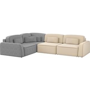 Угловой диван АртМебель Гермес рогожка бежевый 2/серый 3 левый угол шатура диван лондон рогожка бежевая 2 подушки в подарок