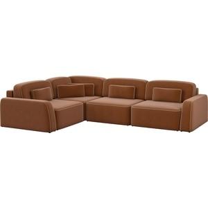 Угловой диван АртМебель Гермес рогожка коричневый левый угол шатура диван лондон рогожка бежевая 2 подушки в подарок