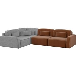 Угловой диван АртМебель Гермес рогожка коричневый 2/серый 3 левый угол шатура диван лондон рогожка бежевая 2 подушки в подарок
