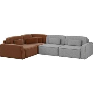 Угловой диван АртМебель Гермес рогожка серый 2/коричневый 3 левый угол шатура диван лондон рогожка бежевая 2 подушки в подарок