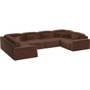 Угловой диван АртМебель Гермес-П микровельвет коричневый диван книжка артмебель анна микровельвет коричневый