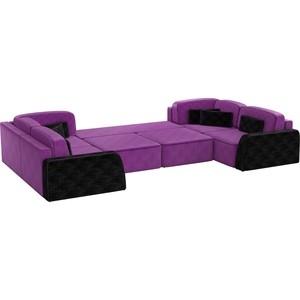 Угловой диван АртМебель Гермес-П микровельвет фиолетовый бк-черный бк 41 магнит чебурашка 1262362