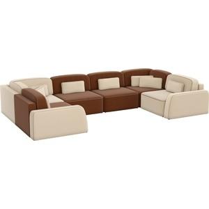 Угловой диван АртМебель Гермес-П рогожка коричневый/бежевый шатура диван лондон рогожка бежевая 2 подушки в подарок