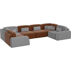 Угловой диван АртМебель Гермес-П рогожка коричневый/серый шатура диван лондон рогожка бежевая 2 подушки в подарок