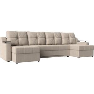 Угловой диван АртМебель Сенатор-П рогожка бежевый угловой п образный диван aria
