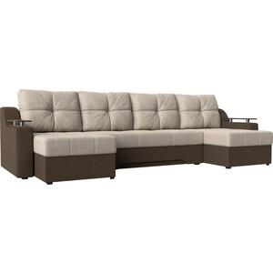 Угловой диван АртМебель -П рогожка бежевый/коричневый